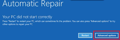 Advanced option for Automatic Startup Repair
