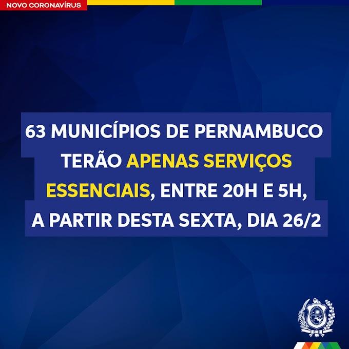 Três regiões de Pernambuco terão apenas serviços essenciais entre 20h e 5h, a partir desta sexta-feira (26/02)
