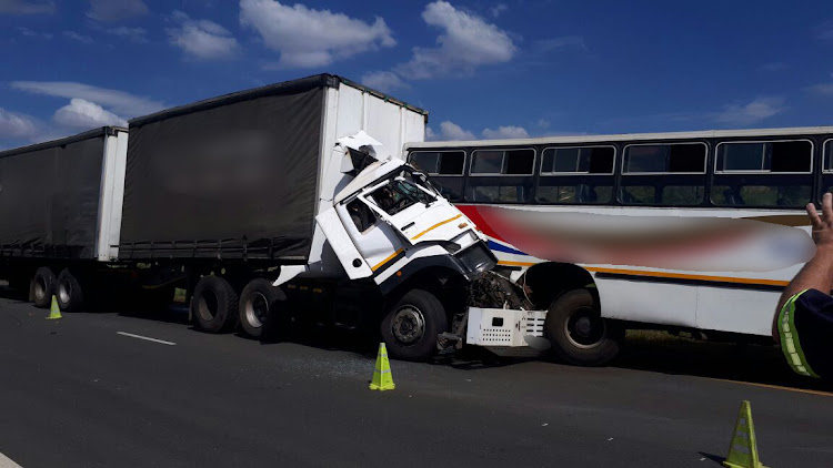 Around 100 people were injured when a truck and a school bus collided on the N12 in Westonaria in Gauteng on Monday afternoon.