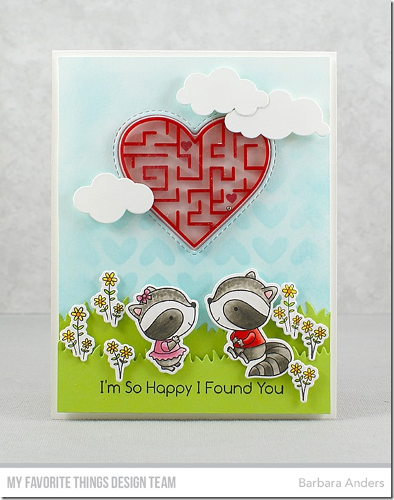Stamps: Raving Raccoons, LLD You're A-maze-ing  Die-namics: Raving Raccoons, Stitched Peek-a-Boo Heart Window, Grassy Hills, Puffy Clouds  Stencil: Full of Heart Barbara Anders   #mftstamps