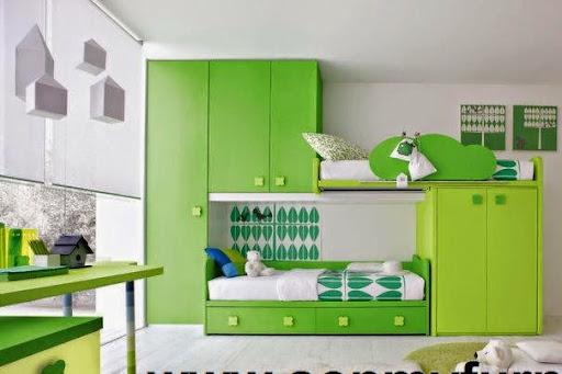 Thiết kế nội thất phòng ngủ với gam màu xanh tươi mát_CONG TY NOI THAT-8