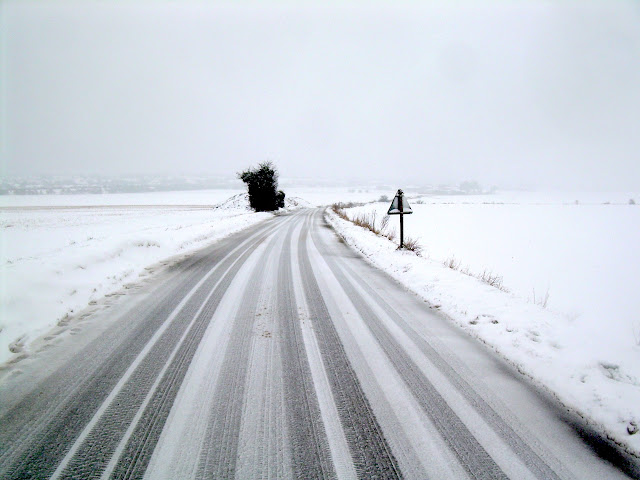 The snowy road to Baldock
