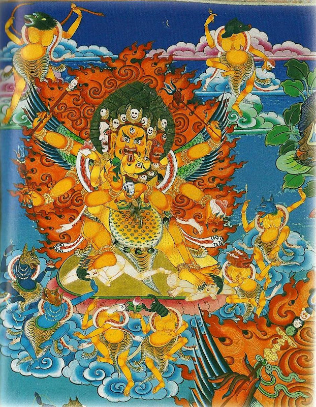 Wrathful deities of the Ratna family. Thangkas painted by Shawu Tsering and photographed by Jill Morley Smith are in the private collection of Gyurme Dorje