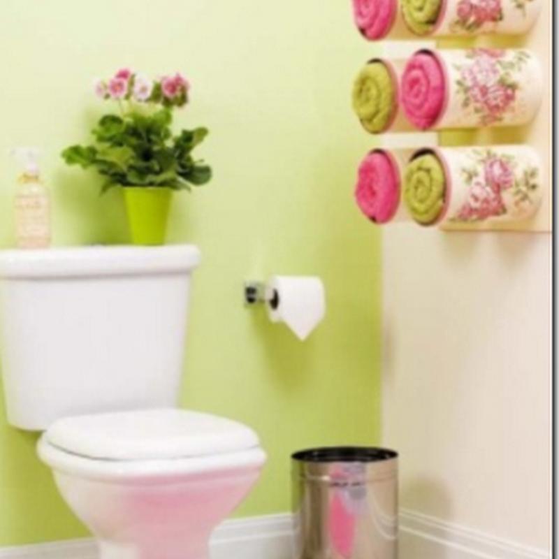 toallero baño con botes reciclados
