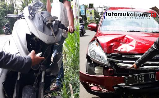Adu Banteng Motor dengan Mobil di Pertigaan Jelegong - Nagrak Sukabumi
