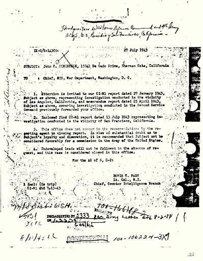 a letter from a Lt. Col. Pash in 1943