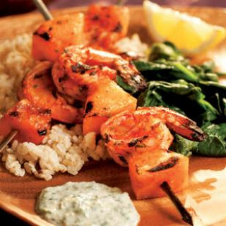 South Indian Shrimp Kebabs with Cilantro Sauce.