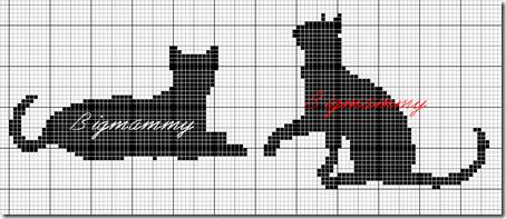siluetas gatos punto de cruz monocromo  (4)