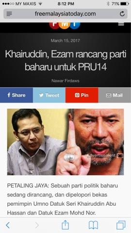 Image result for EZAM DAN KUDIN BUAT PARTI BARU