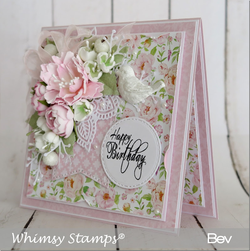 Bev Rochester Whimsy Happy Birthday to You & Peony Die2