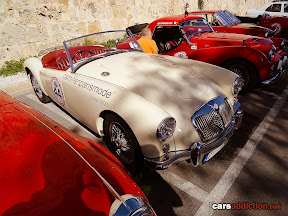 White MGA with red interior