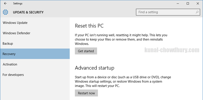 Windows 10 - Reset PC (www.kunal-chowdhury.com)