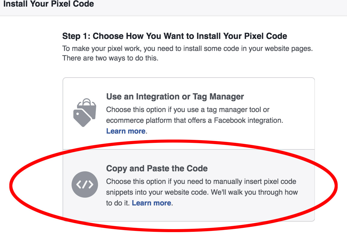 Copy and paste code for facebook pixel