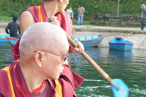 Lama Zopa Rinpoche on Lake Begnas, Pokhara, Nepal, February 2012.  Photo courtesy of Gaden Yiga Chozin.