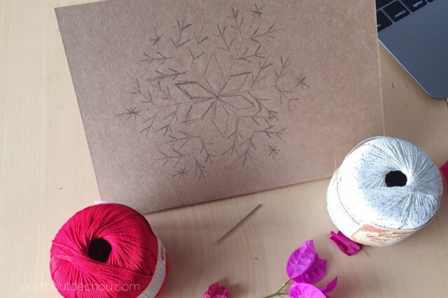 Christmas craft card embroidery