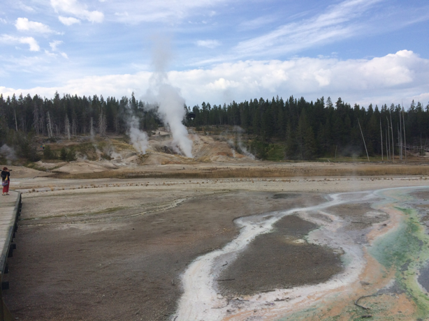 Yellowstone-- Home of geysers, water falls, trees, c