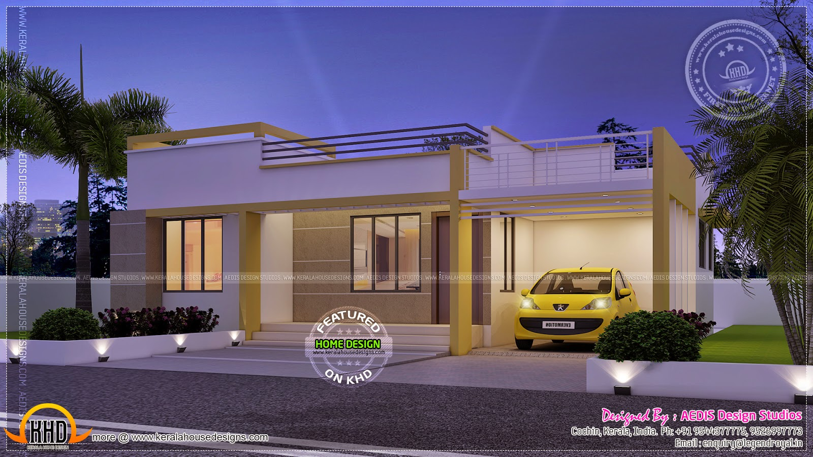 Night view of small single floor house ~ Indian House Plans
