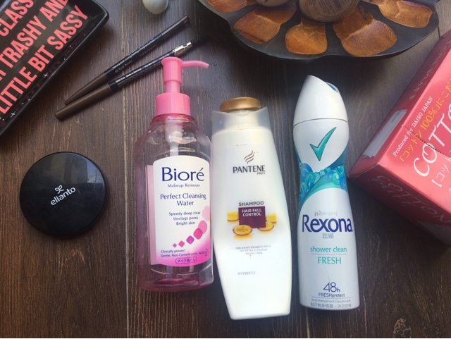 pantene, rexona, biore cleansing water, daiso cotton puff, elianto, silkygirl eyebrow, loreal, bifesta wipes