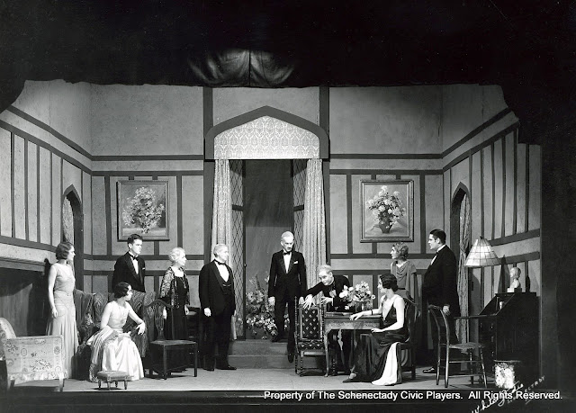 Elizabeth McManus, Gertrude Weller, William H.  Kunklemann, Marcia E.J. Taylor, John Stone Allen,  Edward L. Carroll, F. John Everest, Joyce E. Rector, Jane Audin and Howard J. Blanchfield in DEAR BRUTUS - April 1932.  Property of The Schenectady Civic Players Theater Archive.