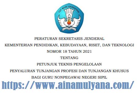 Persesjen Kemendikbudristek Nomor 18 Tahun 2021 Tentang Juknis TPG dan Tunjangan Khusus Guru Non PNS tahun 2021/2022
