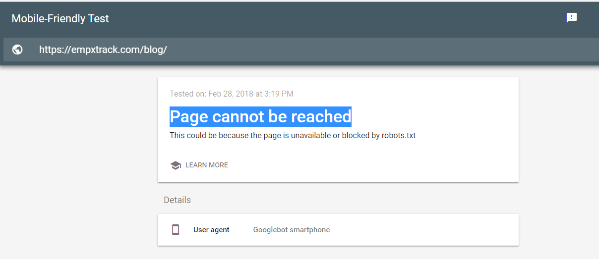 Mobile-Friendly Test Page cannot be reached - Search Console