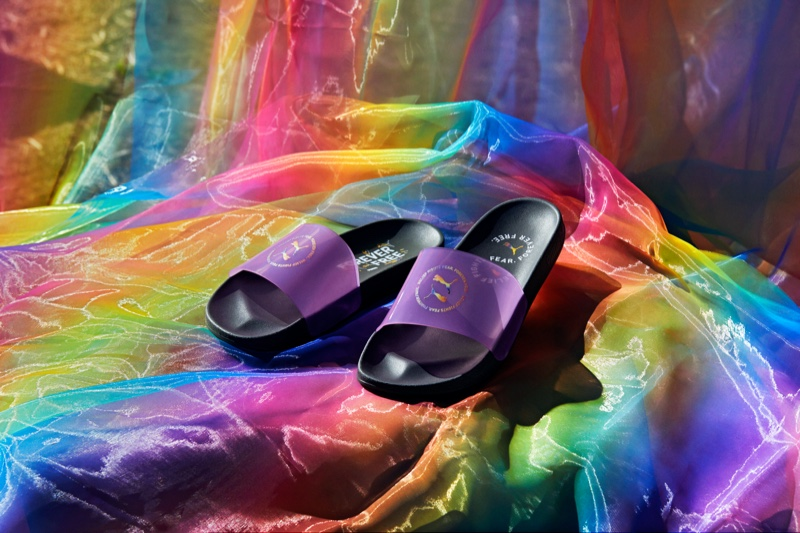 Purple slides rom PUMA's Forever Free Pride Collection.