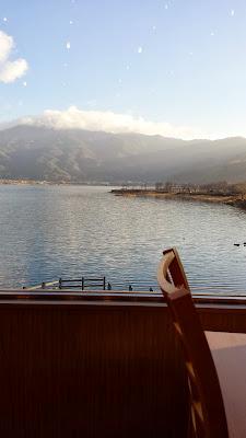 Wakakusa no Yado Maruei: our view next to our table during breakfast of Lake Kawaguchiko