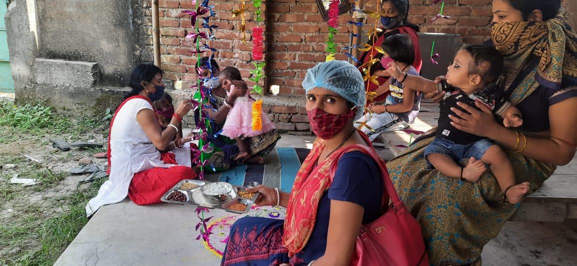 पूर्णियां:आंगनवाड़ी केन्द्रों में मनाया गया अन्नप्राशन दिवस