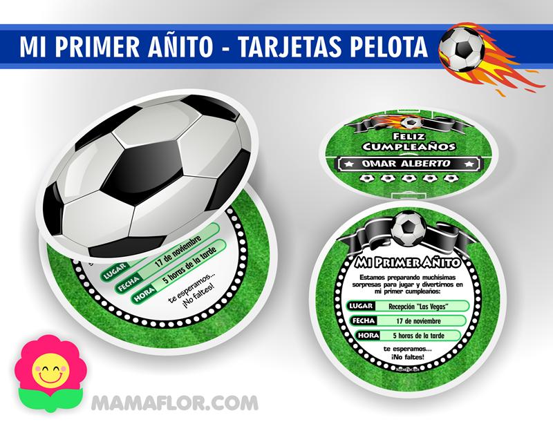 Mi Primer Añito Invitaciones de Pelota de Fútbol Manualidades MamaFlor