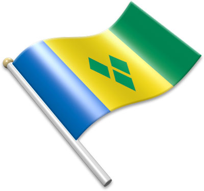 The Saint-Vincentian, Vincentian flag on a flagpole clipart image