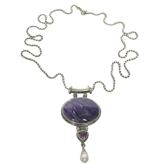 Sterling Silver  Purple Stone Necklace