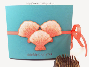 Linda Vich Creates: Projects From Stamping Group. A Lotus Blossom adorns a vibrant, card base created using a sun rays mask. Sea creatures abound in a 3D book card using stamps from By The Sea.