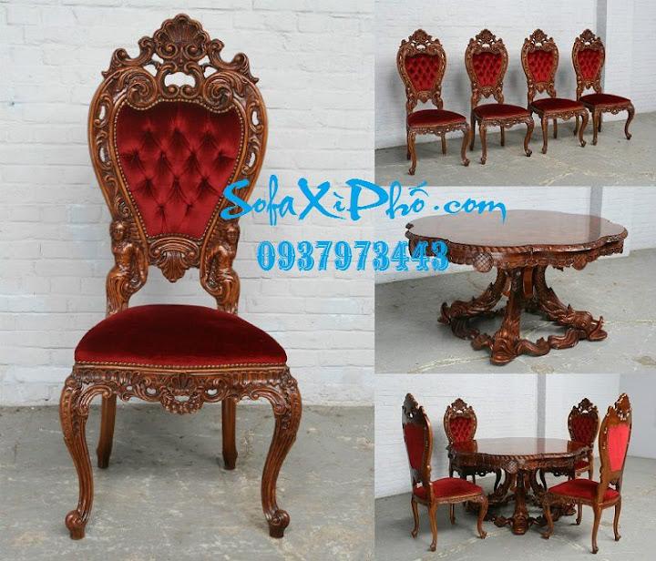 Bọc ghế louis cổ điển khung gỗ Bọc ghế bàn ăn cổ điển cao cấp tại hcm