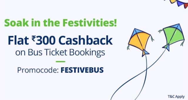 Paytm – Get flat Rs.300 cashback on Rs.1000 or more Bus ticket booking