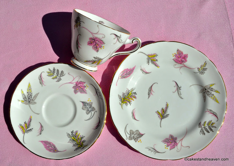 Vintage Tuscan pink and yellow fine bone china trio
