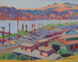 Photo: Benicia Car Lots, oil painting by Nancy Roberts, copyright 2014. Private collection.