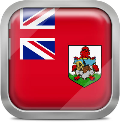 Bermuda square flag with metallic frame