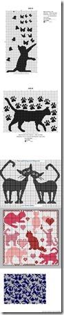 siluetas gatos punto de cruz monocromo  (22)
