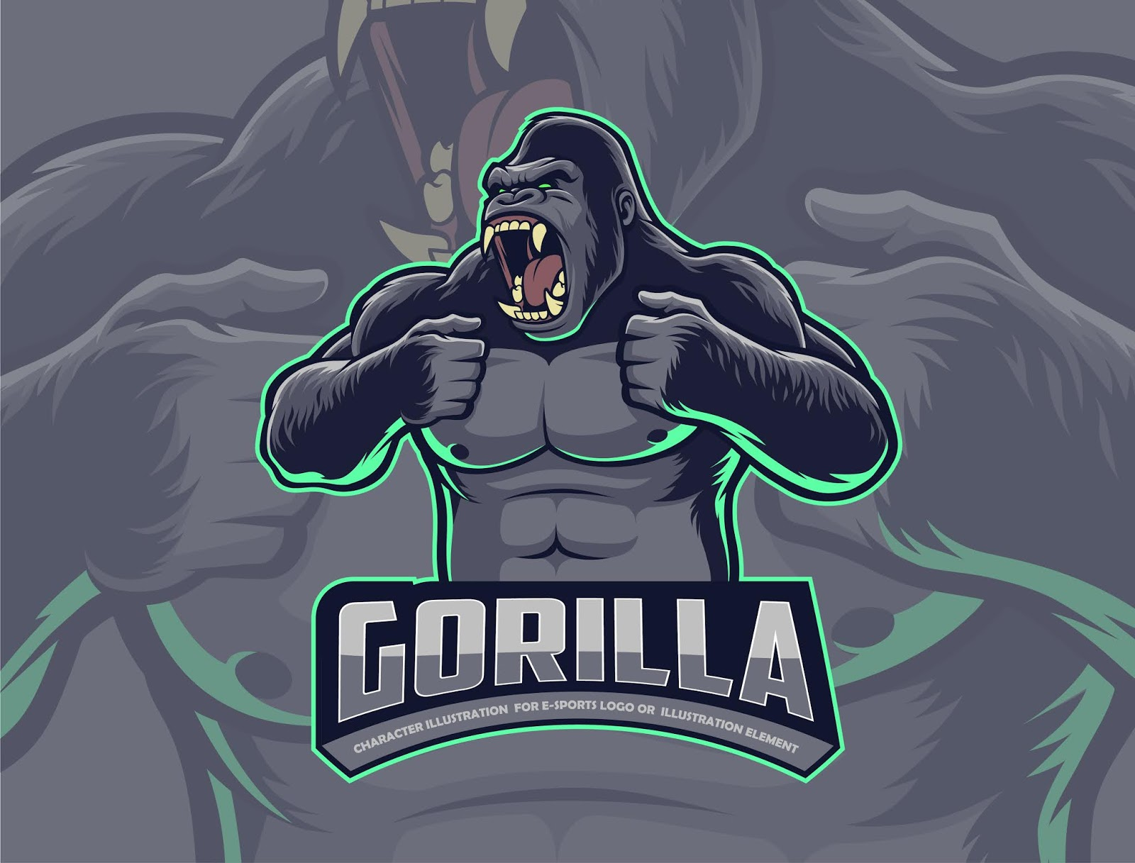 Gorilla Beating Chest Free Download Vector CDR, AI, EPS and PNG Formats