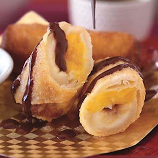 Banana and Mango Spring Rolls with Coconut-Chocolate Ganache Recipe