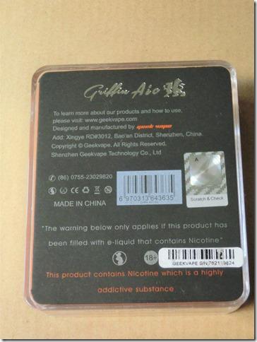 CIMG0453 thumb1 - 【RTA】Geek Vape 「Griffin AIO 25mm RTA」(グリフィン エーアイオー 25㎜ RTA)レビュー。名前に入る「AIO」の文字。果たしてその意味とは・・・【RTA/爆煙/AIO】