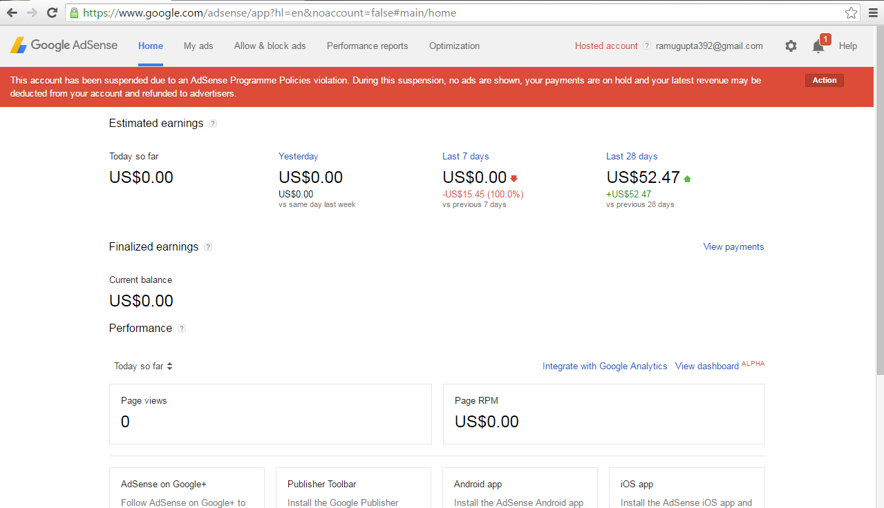I Have Got $52 47 since my adsense account have been