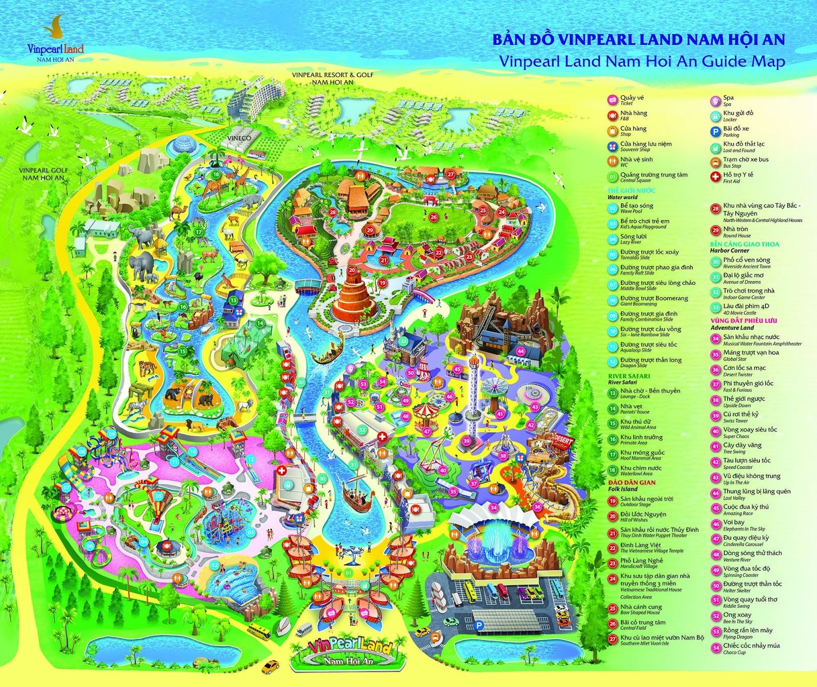 Bản đồ tham quan Vinpearl Land Nam Hội An