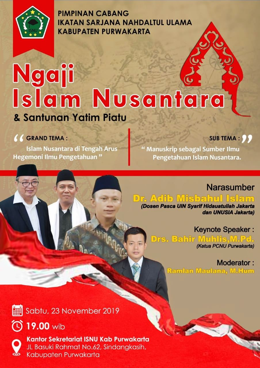 PC ISNU akan gelar Ngaji Islam Nusantara dan Santunan Anak Yatim