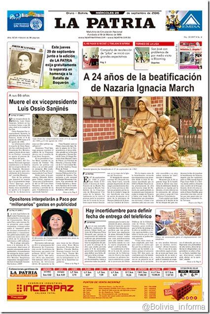 """La Patria """"Periódico de Circulación Nacional"""": periódico orureño"""