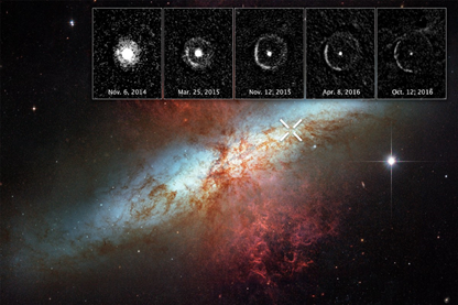 propagação do eco de luz da SN2014J na M82