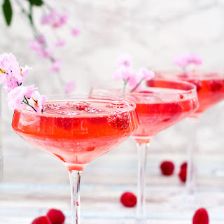 Raspberry Peach Champagne Cocktail.