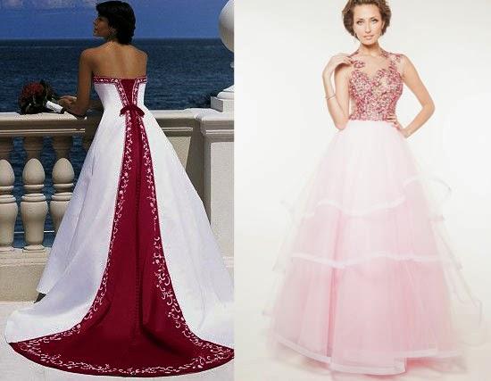 Vestido de noiva com detalhe rosa