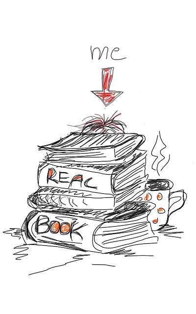Zeichnung eines Bücherstapels, einer Kaffeetasse und der Autorin