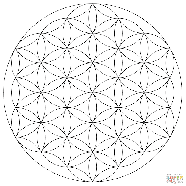 Click The Flower Of Life Mandala Coloring Pages